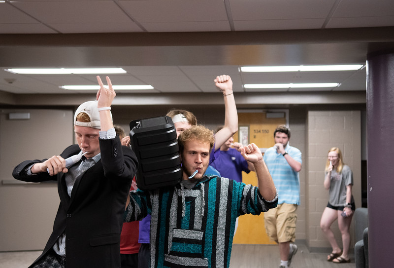 """""""The Toothbrush Party has created a bond between all of our floors. It's a great time and we encourage anyone to join"""" Quin Napier, founder of the toothbrush party. This event takes place on Mondays at 9:05 pm, in Goodnow Hall. Oct 4, 2019. (Dylan Connell 