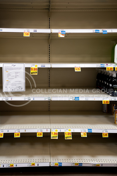 Store shelves across Manhattan KS are left empty due to the ongoing pandemic. (Dylan Connell | Collegian Media Group)