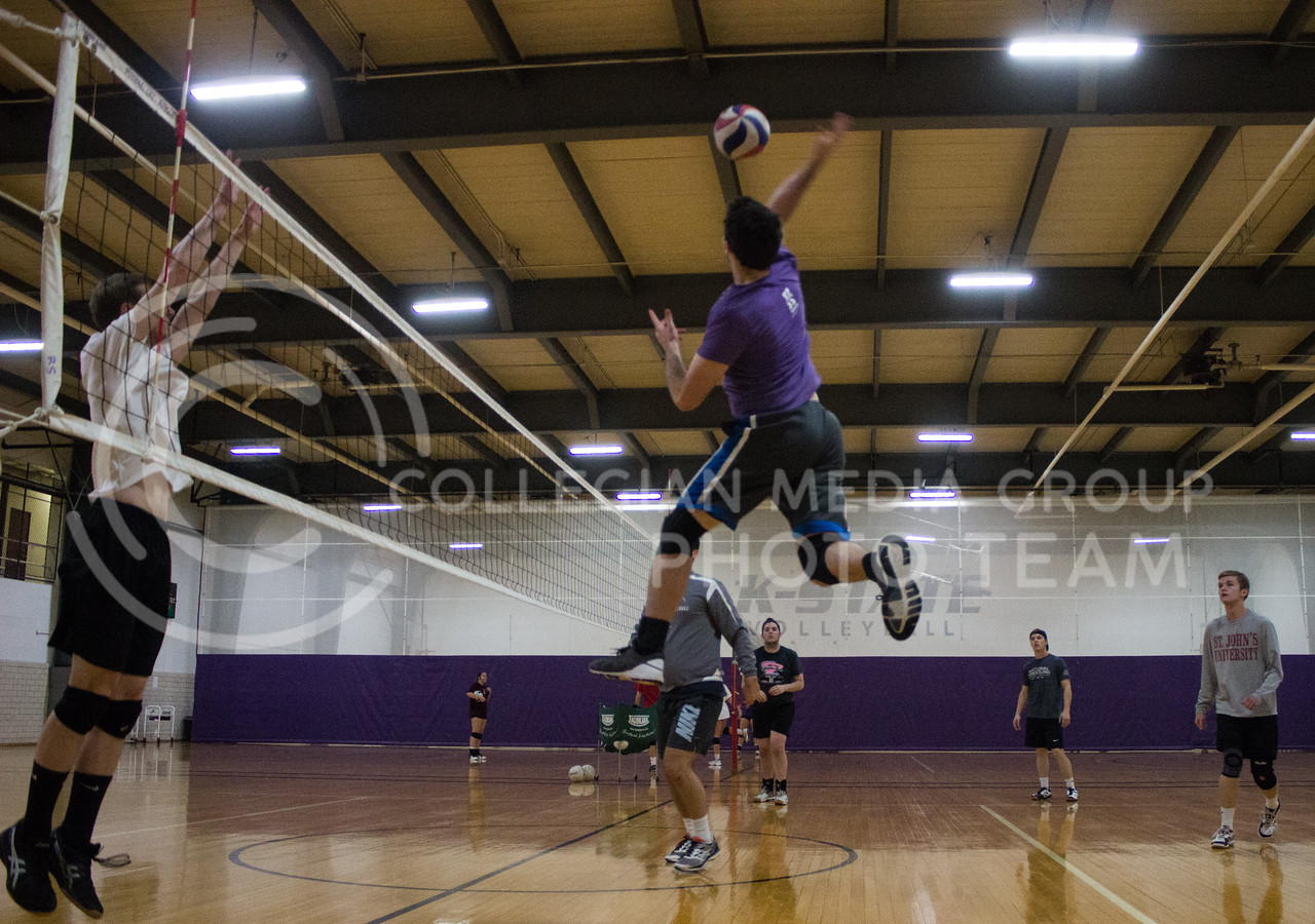 Mens volleyball practices in Ahearn Fieldhouse on Nov. 8, 2017. (Regan Tokos | Collegian Media Group)