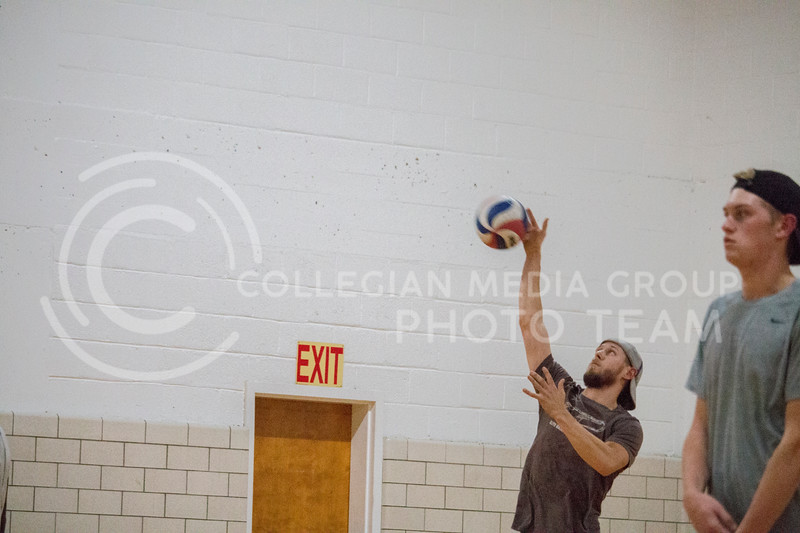 Mens volleyball practices in Ahearn Fieldhouse on Nov. 8, 2017. (Logan Wassall | Collegian Media Group)