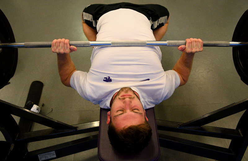 KSU Jr, David Hawkins, studying Chemical Engineering, bench presses at the K-State, Chester E. Peters Recreation Complex. Oct 23, 2019. (Dylan Connell | Collegian Media Group)
