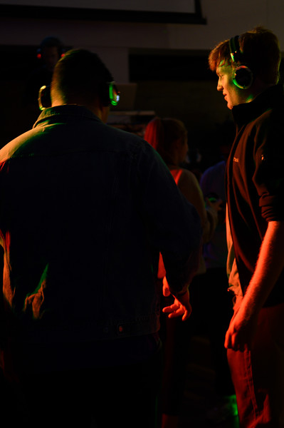 KSU student, Jackson O'Rourke,  Sophomore in Business Administration, attends the Silent Disco at the Union Courtyard. Oct 11, 2019. (Dylan Connell | Collegian Media Group)