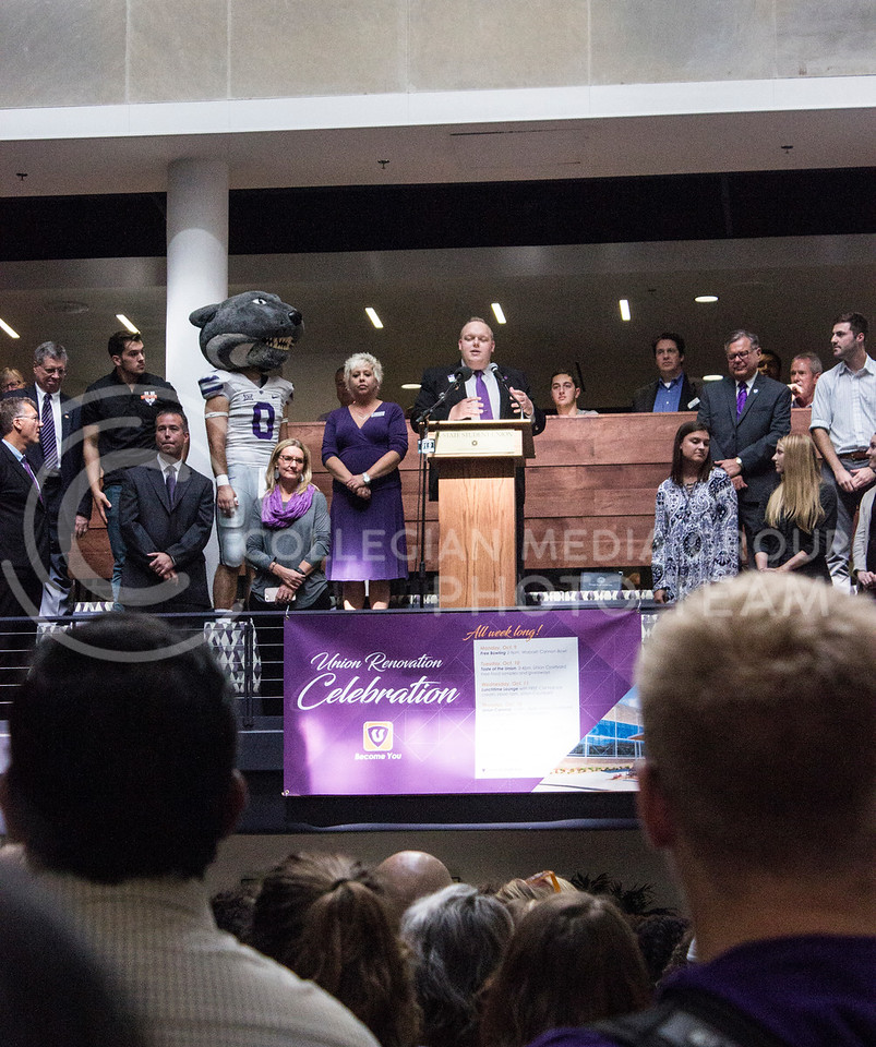 Student body president Jack Aryes gives a quick speech at the celebration of the Kansas State Student Union renovation on October 13th, 2017. (Kelly Pham   The Collegian)