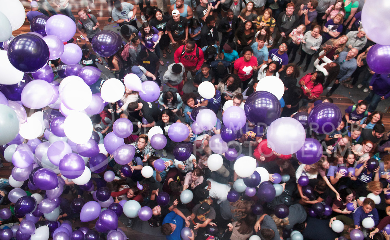 Excitement rushes over the union courtyard as balloons are released to celebrate the renovation of the Student Union on October 13th, 2017. (Kelly Pham | The Collegian)