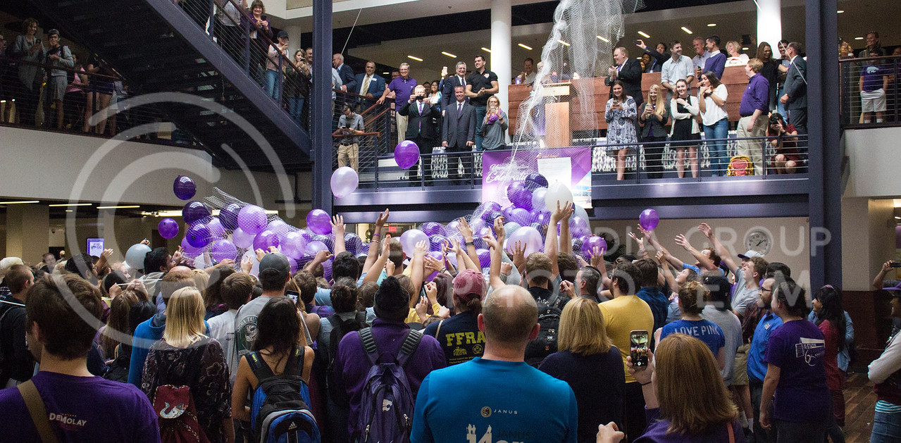 Students could not contain their excitement and started to grab the balloons before they were able to be released at the Student Union renovation celebration on October 13th, 2017. (Kelly Pham   The Collegian)