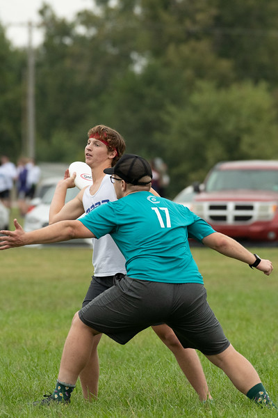 """Herman Griese catches a pass during the Ultimate Frisbee tournament. Herman is a Sophomore at K-State majoring in Wildlife Conservation. Herman's been playing ultimate frisbee since high school; when asked what's the most important part of Ultimate Frisbee, he replied with """"definitely stamina, anyone can learn to throw but staying energetic and having a lot of endurance is major key"""". Sept 28, 2019. (Dylan Connell 