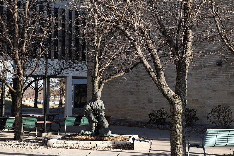A view of the courtyard by K-State's vet school. (Monica Melber | Collegian Media Group)