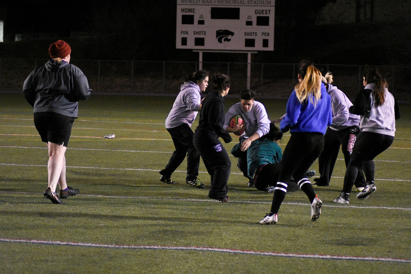 Women's Rugby team practicing before there game on saturday. in the Memorial Stadium on Wednesday March 7, 2018 <br /> photo by: Hasan Albasri