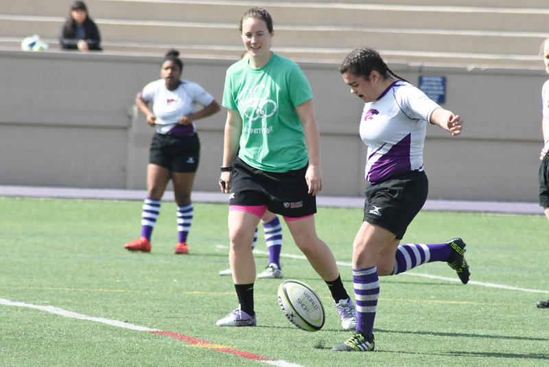 Brianna Leonard is kicking the ball to the other team. in the Memorial Stadium on Saturday March 10, 2018. <br /> Photo by hasan albasri