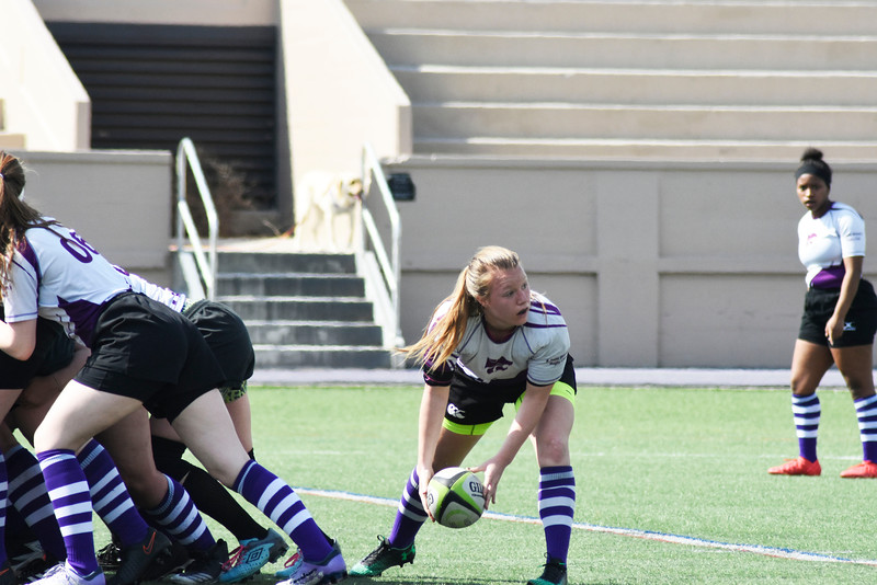 Lauren Chlebanowski is trying to pass the ball to one of here teammats. in the Memorial Stadium on Saturday March 10, 2018. <br /> Photo by hasan albasri