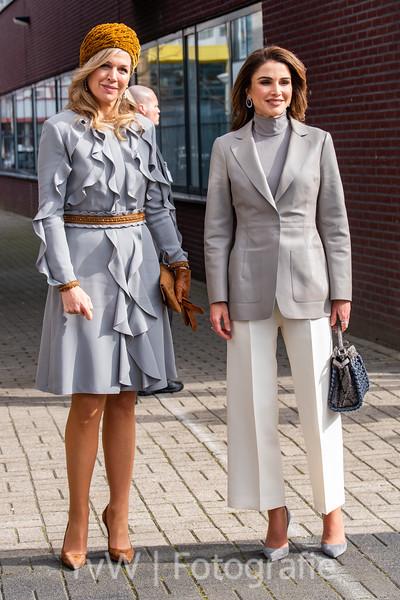 Koningin Máxima en Koningin Rania bij ROC Mondriaan