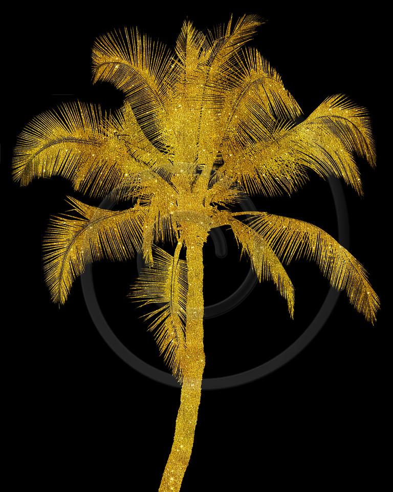Gold Palm Tree Faux Glitter Metallic Foil Tropical Palms Black