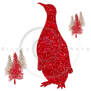 Penguin Red Glitter Christmas Holiday Silhouette