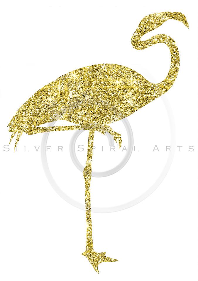 Gold Glitter Flamingo Sparkle Silhouette