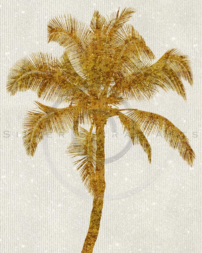 Gold Palm Tree Faux Glitter Metallic Foil Tropical Palms Striped Background