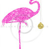 Christmas Pink Glitter Flamingo Gold Holiday Ornament Sparkle Silhouette