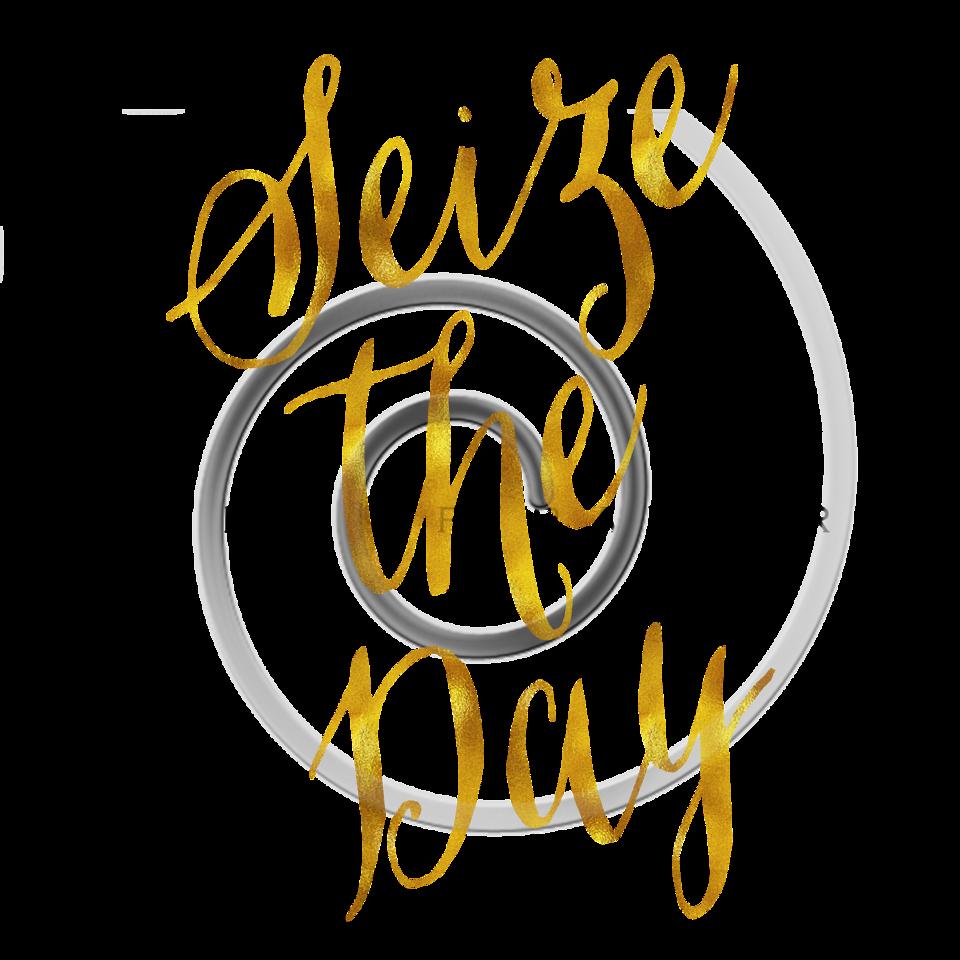Seize The Day Carpe Diem Gold Faux Foil Metallic Glitter Quote on White Background