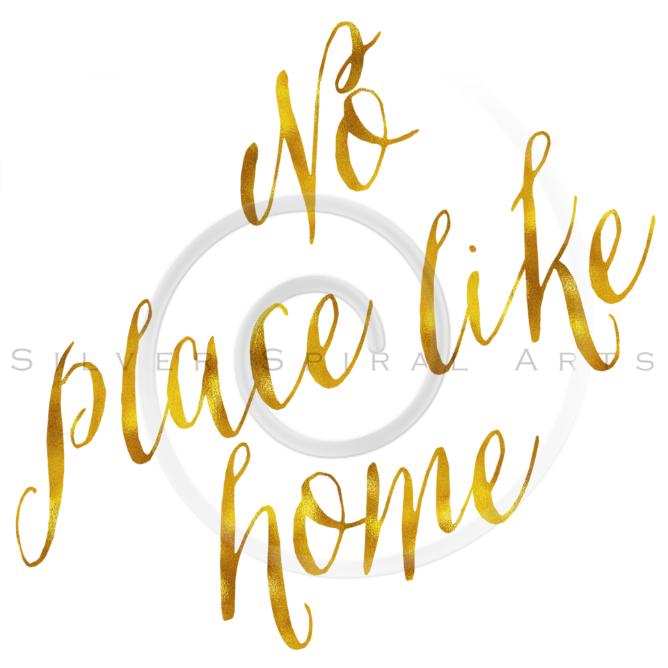 No Place Like Home Gold Faux Foil Metallic Glitter Quote on White Background