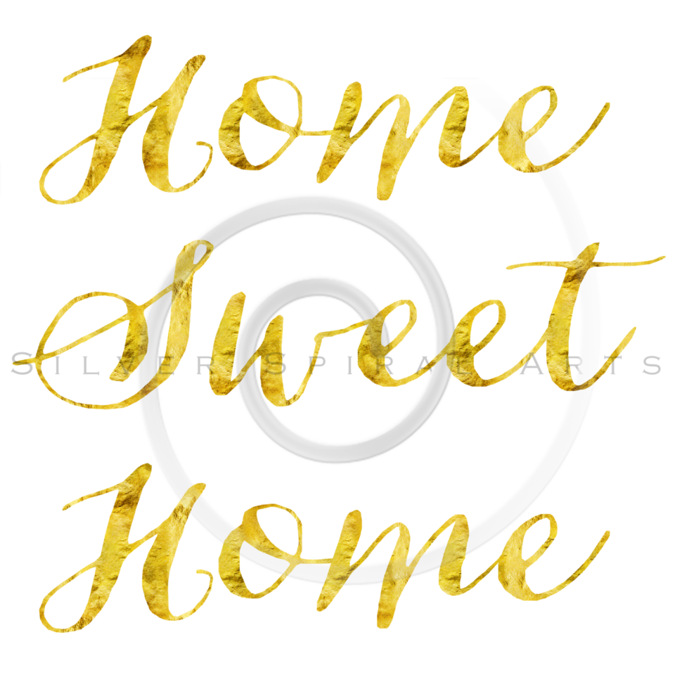 Home Sweet Home Gold Faux Foil Glitter Metallic Quote Isolated on White Background