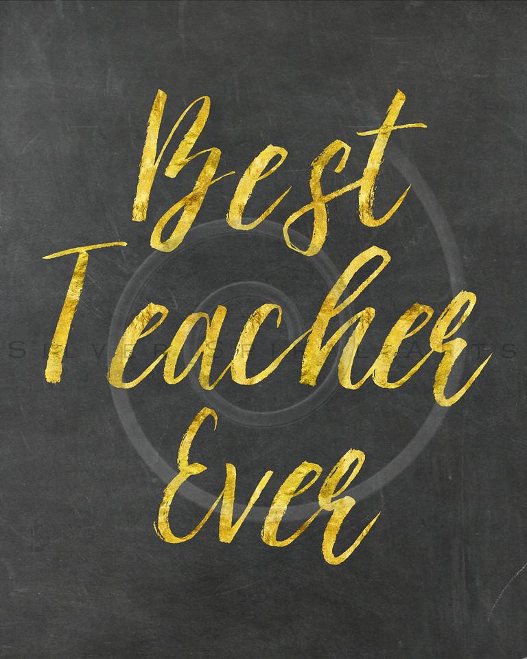 Teacher Gold Faux Foil Metallic Glitter Quote on Blackboard