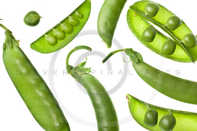 green pea pods isolated on white background
