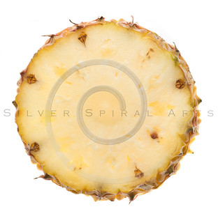 fresh Florida pineapple slice isolated on white