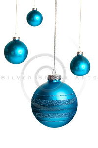Christmas Ornaments with Glitter  Isolated on White.