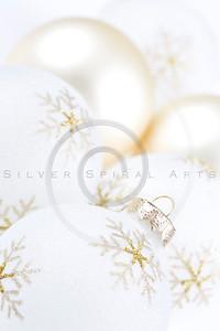 High Key Christmas Bulbs on White Background.