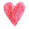 red heart drawn by a child on white background