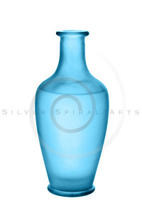 Blue Frosted Glass Vase Isolated