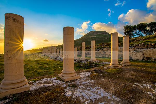 Sunrise at Herodium columns