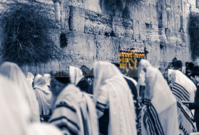 Hanukkiah lit up at the Western Wall
