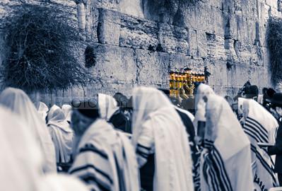 Hanukkiah lit up at the Western Wall