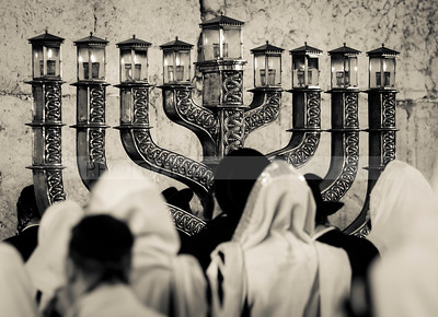 Hanukkiah at the Western Wall (black and white)