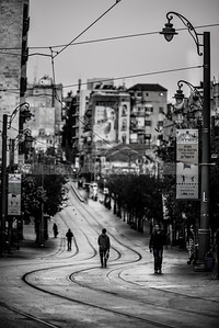 People on the street in downtown Jerusalem