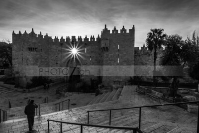 Sunburst through Damascus Gate