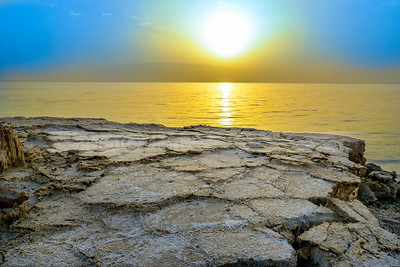 Dry cracked surface of the Dead Sea shore