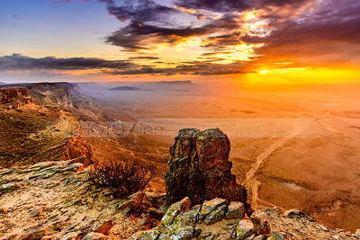 Sunset over the Machtesh Ramon, Negev Desert