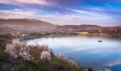 Sunset at Lake Ram and Mount Hermon, Golan Heights