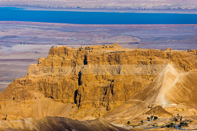 Western view of Masada fortress and roman seige ramp