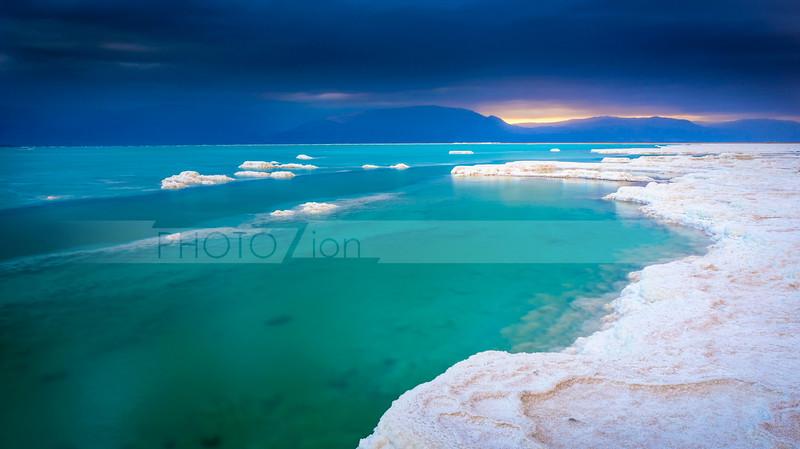 Beautiful Dead Sea salt landscape