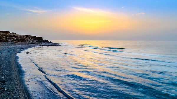 Dead Sea shore at sunrise