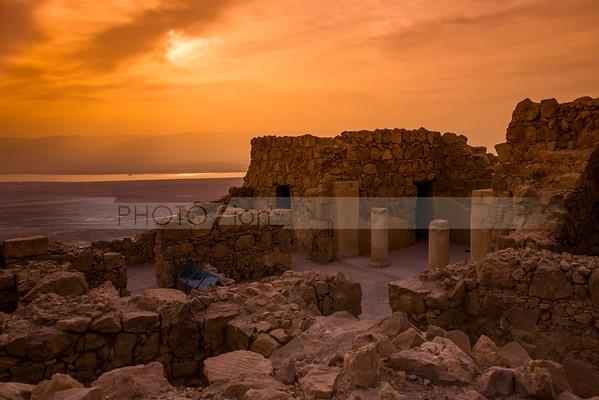 Watching sunrise from Masada
