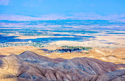 View of Jericho, the Israeli settlement of Vered Yeriho and the Jordan Valley from Judean Desert outlook