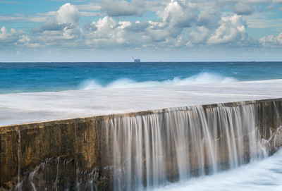 Waves on the pier; Mediterranean Sea, Caesarea Israel