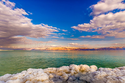 Clouds and salt - Dead Sea