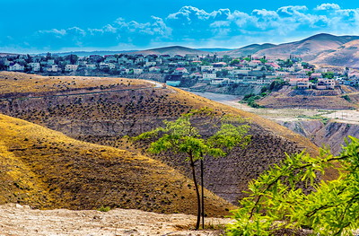 Mitzpe Yeriho/ Mitzpeh Yericho, a religious Israeli settlement, surrounded by the hills of the Judaean Desert