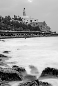 Old Jaffa at dusk, black & white