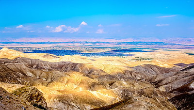 View of Jericho, the Israeli settlement of Vered Yeriho and the Jordan Valley from Judean Desert outlook