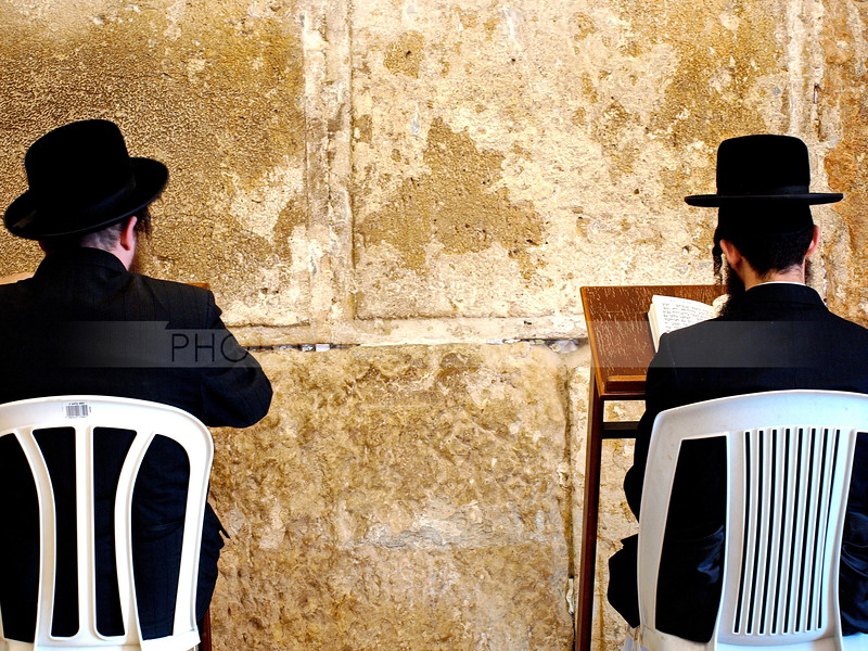 Orthodox men praying at the Western Wall